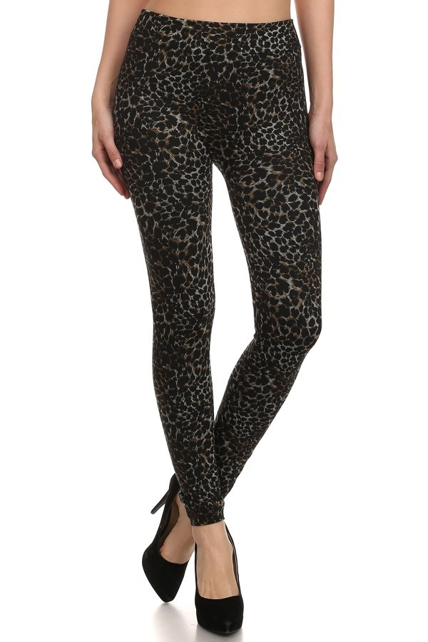 French Terry Jeggings Leopard - orangeshine.com