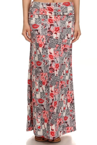 maxi skirts love print red - orangeshine.com