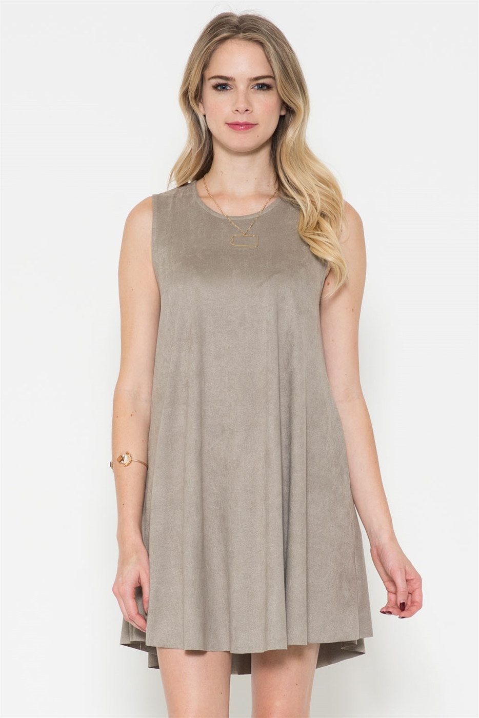 SUEDE TUNIC KEYHOLE BACK DRESS - orangeshine.com