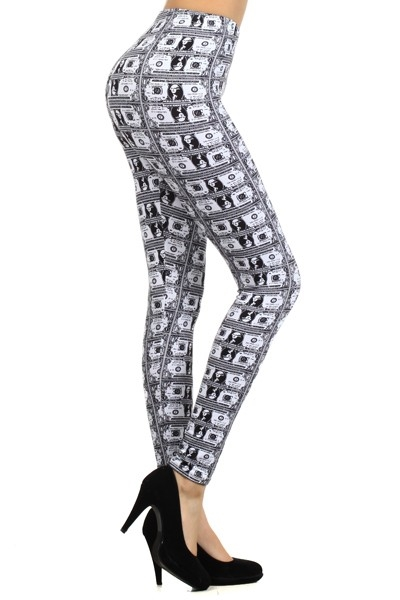 Dollars Bills Print Leggings  - orangeshine.com