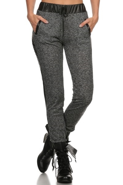 Black Joggers Faux Leather - orangeshine.com