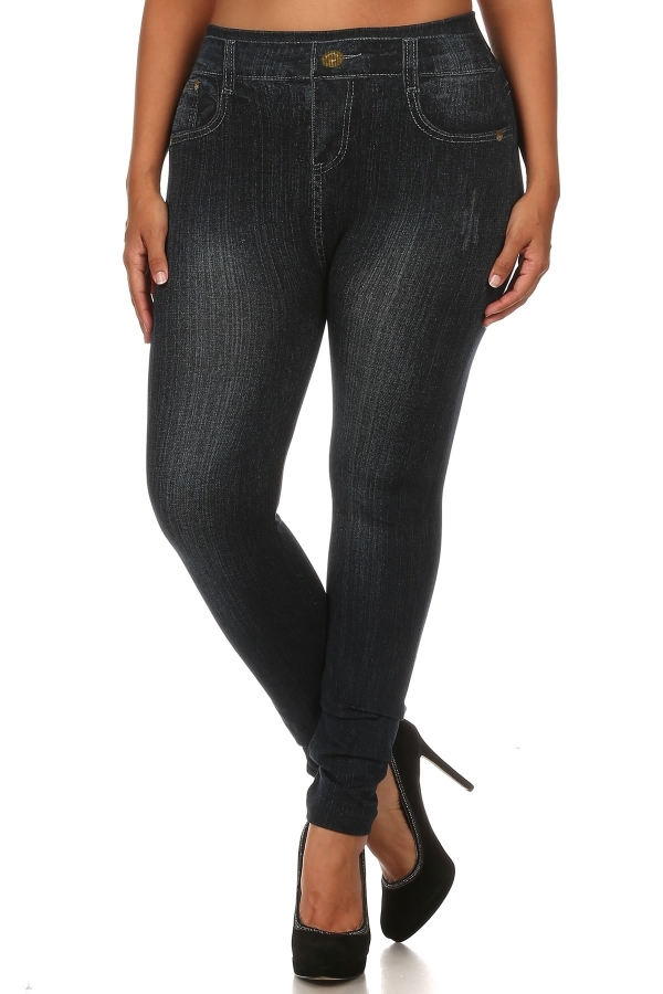 Plus Size Jegging Black Cotton - orangeshine.com