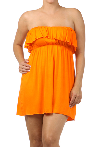 Strapless Ruffle Dress - orangeshine.com