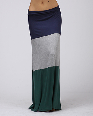 COLOR BLOCK MAXI SKIRT - orangeshine.com