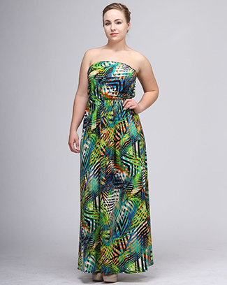TROPICAL PRINT TUBE MAXI DRESS - orangeshine.com