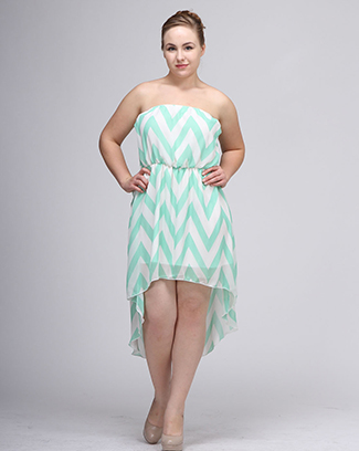 CHEVRON HI LOW STRAPLESS DRESS - orangeshine.com