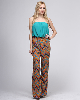 PRINT TUBE TOP JUMPSUIT - orangeshine.com
