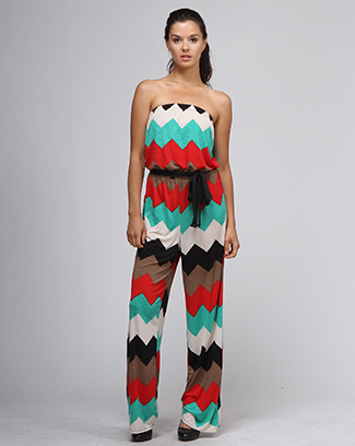 TUBE TOP CHEVRON PRINT JUMPSJUIT - orangeshine.com