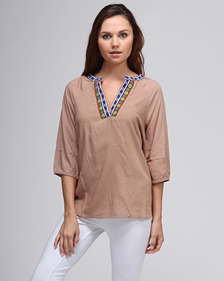V-NECK COLOR TRIM TOP - orangeshine.com