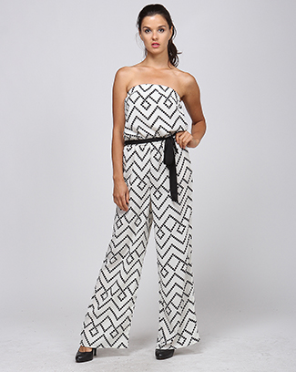 CHEVRON JUMPSUIT WITH TIE - orangeshine.com