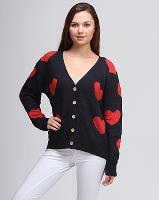 HEART PRINT BUTTON UP - orangeshine.com