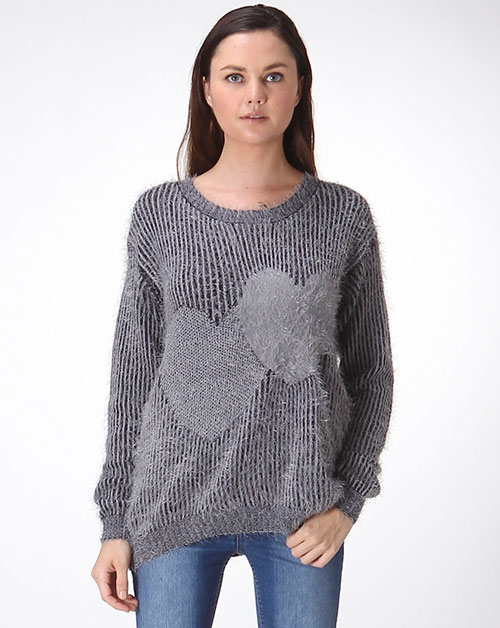 TWO HEARTS KNIT SWEATER - orangeshine.com