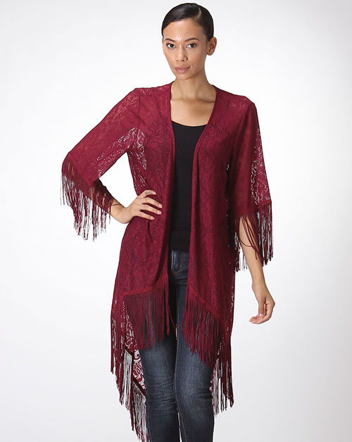 FLORAL LACED CARDIGAN W/ FRINGES - orangeshine.com