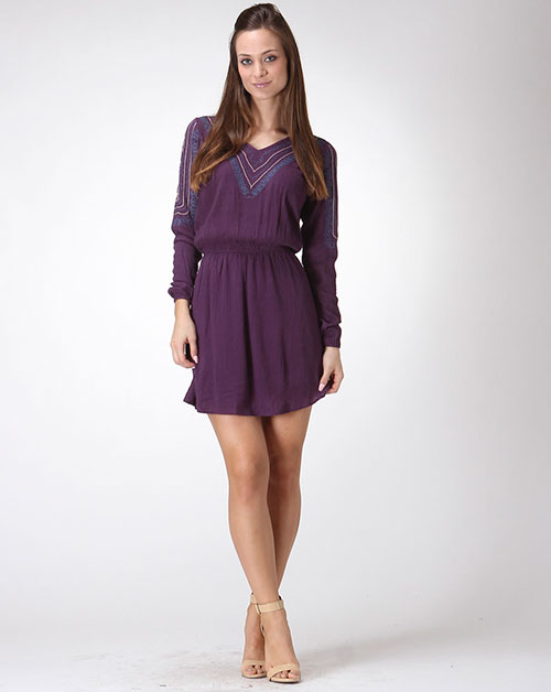 EMBROIDERED DETAIL LONG SLEEVE DRESS - orangeshine.com