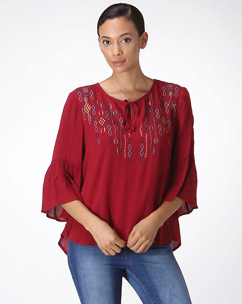 EMBROIDERY FRONT TIE KEYHOLE BLOUSE - orangeshine.com