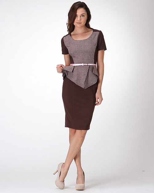 TWEED PEPLUM CAREER DRESS - orangeshine.com