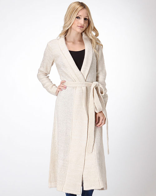 LONG KNIT FRONT TIE CARDIGAN - orangeshine.com
