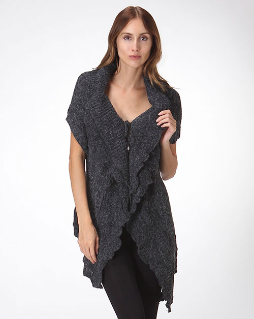 Draped Ruffle Cardigan  - orangeshine.com