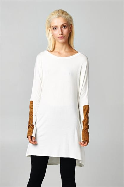 Suede Long Sleeves Tunic Dress - orangeshine.com