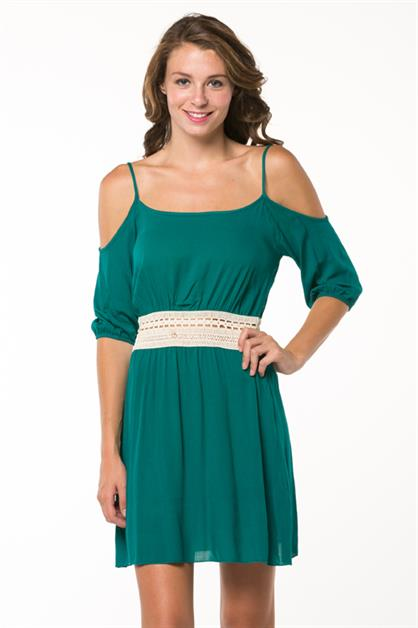 Crochet Trim Cutout Dress - orangeshine.com