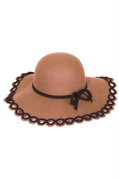 LASER CUT WOOL FELT FLOPPY HAT - orangeshine.com