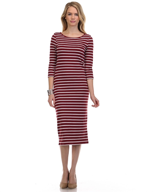 3/4 SLEEVE MIDI STRIPE DRESS - orangeshine.com