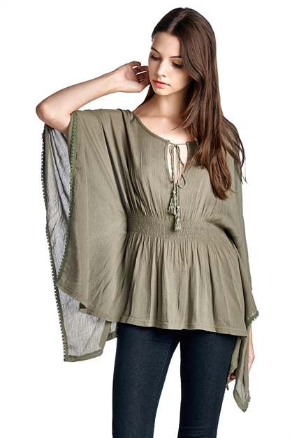 Smocked Poncho Blouse - orangeshine.com