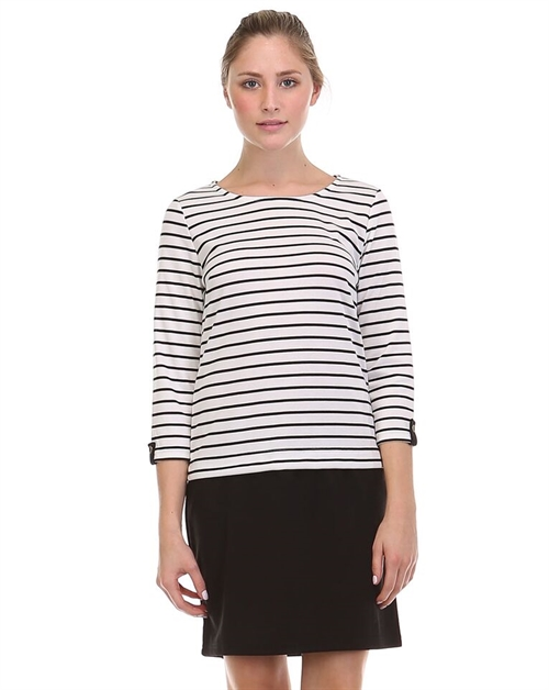QUARTER SLEEVE STRIPE TOP DRES - orangeshine.com