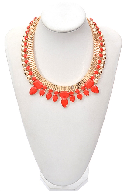 FLAT COLLAR CHAINED NECKLACE - orangeshine.com
