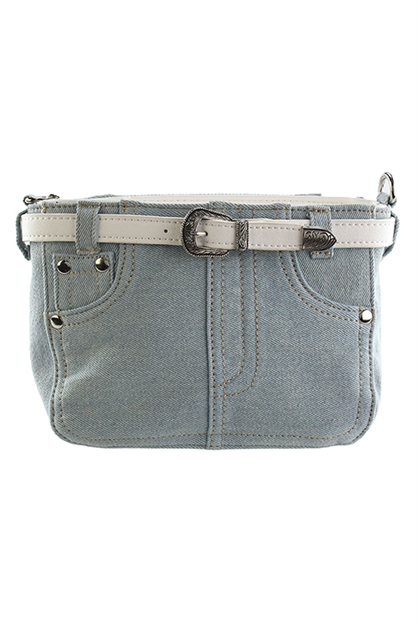 Denim Belted Crossbody - orangeshine.com