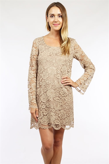 CUTE LONG SLEEVE LACE DRESS - orangeshine.com