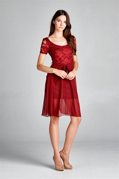 LACE CHIFFON V BACK DRESS - orangeshine.com