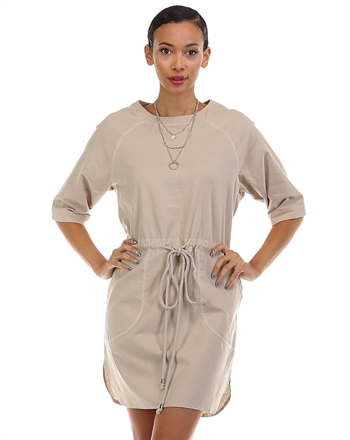 CASUAL DRAWSTRING DRESS - orangeshine.com
