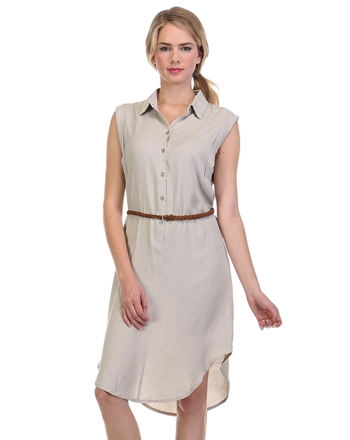SLEEVELESS  SHIRT DRESS - orangeshine.com