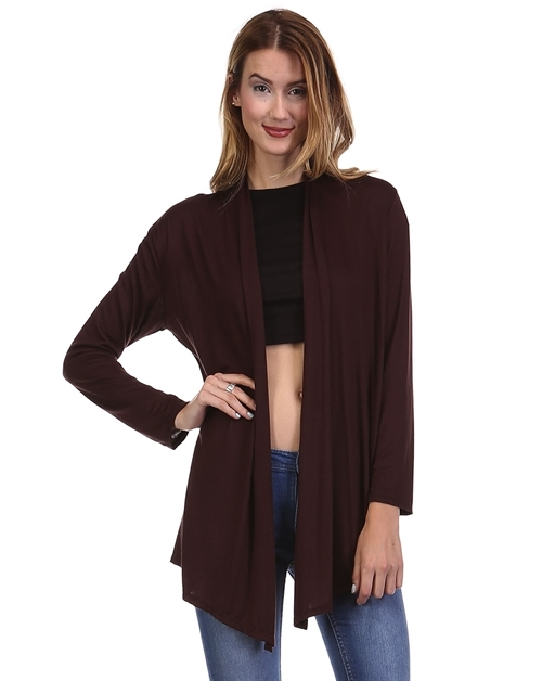 Solid Draped  Open Cardigan - orangeshine.com