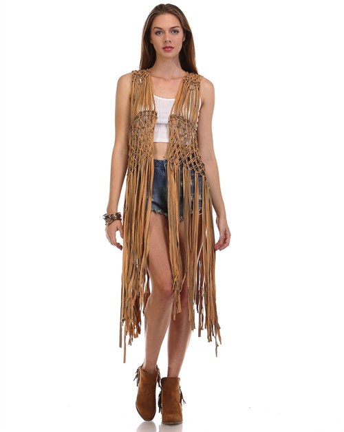 -Fringed Suede Beaded Vest - - orangeshine.com