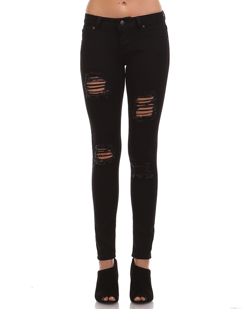 Black Destroyed Denim Jean - orangeshine.com