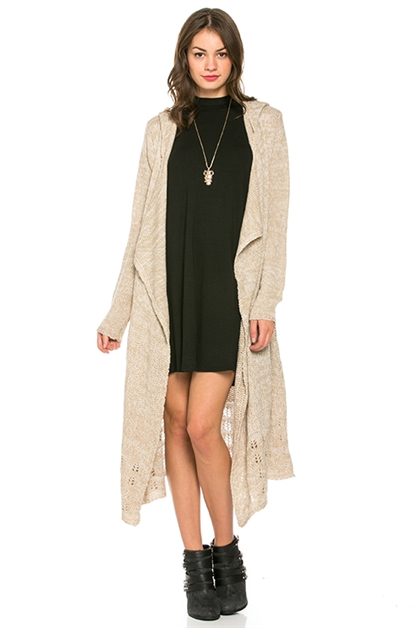 Longline Hooded Knit Cardigan - orangeshine.com