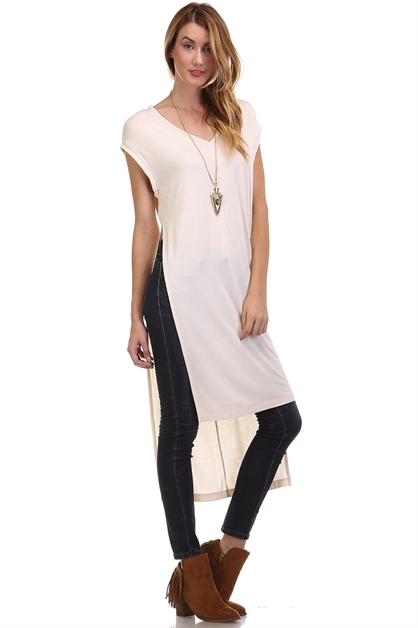 Side Slit Detailed Viscose Tee - orangeshine.com