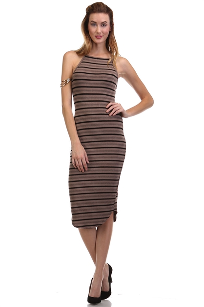 Striped Square Neck Dress - orangeshine.com