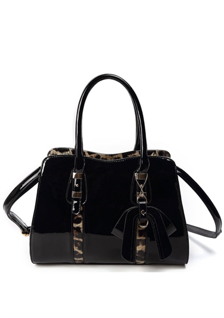 Shiny w/ Interior Leopard Bag - orangeshine.com