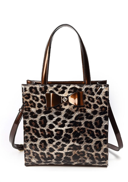 Shiny Leopard and Bow Tie Bag - orangeshine.com