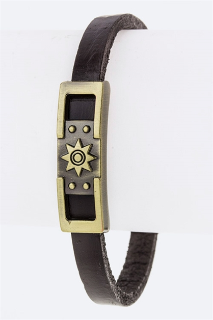 Star Tag Leather Bracelet - orangeshine.com