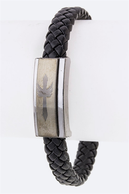 Cross Charm Leather Bracelet - orangeshine.com
