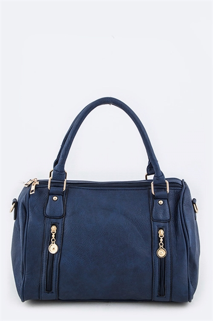 Double Zip Accents Boston Bag - orangeshine.com