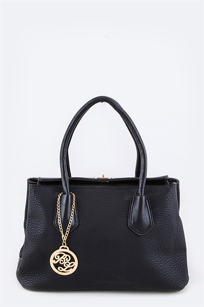 Twist Lock Grain Leather Bag - orangeshine.com