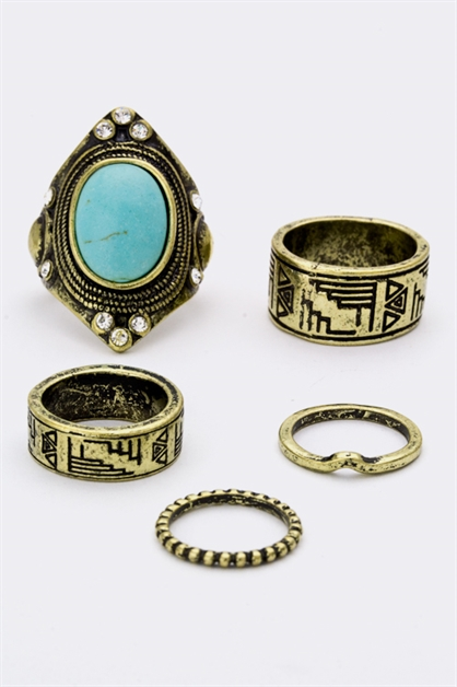 Turquoise  Aztec Carving Ring - orangeshine.com