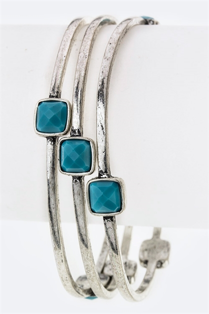 Square Turquoise Bangle - orangeshine.com