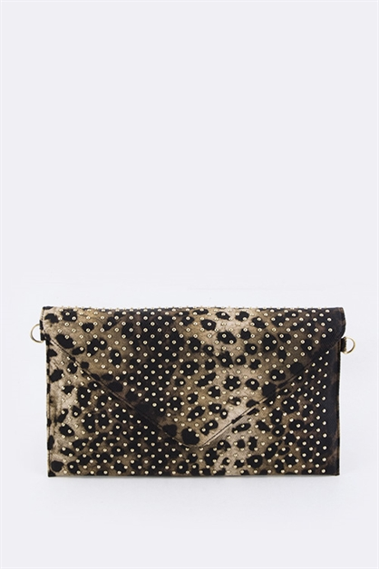 Studded Leopard Clutch - orangeshine.com