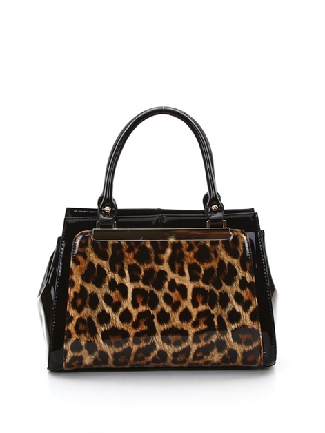 Leopard print multi pocket bag - orangeshine.com